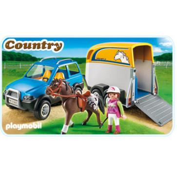 Masina cu remorca pentru cal, PLAYMOBIL Pony Farm