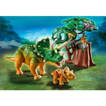 Explorator si triceratops cu pui, PLAYMOBIL Dinos