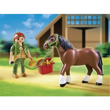 Cal cu ingrijitor si grajd, PLAYMOBIL Pony Farm