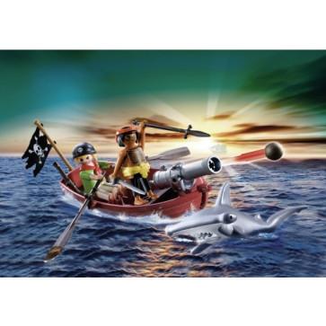 Barca cu casle a piratilor cu rechini, PLAYMOBIL Pirates