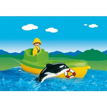 Barca de pescuit cu balena, PLAYMOBIL 1.2.3