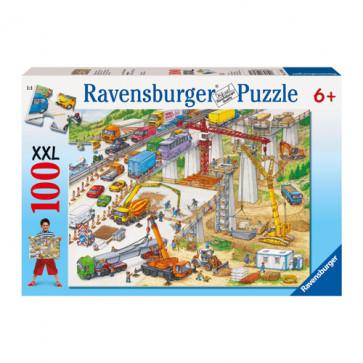 Puzzle Teren de constructii, 100 piese, RAVENSBURGER Puzzle Copii