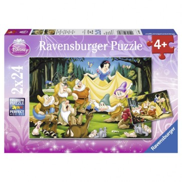 Puzzle Alba ca Zapada si cei sapte pitici, 2x24 piese, RAVENSBURGER