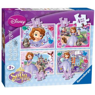 Puzzle Printesa Sofia, 4 buc/cutie, 12/16/20/24 Piese, RAVENSBURGER Puzzle Copii