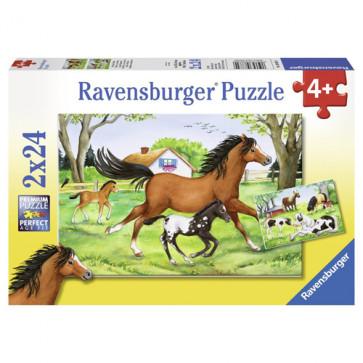 Puzzle lumea cailor, 2x24 piese, RAVENSBURGER