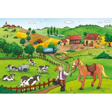 Puzzle Munca la ferma, 2x12 piese, RAVENSBURGER Puzzle Copii