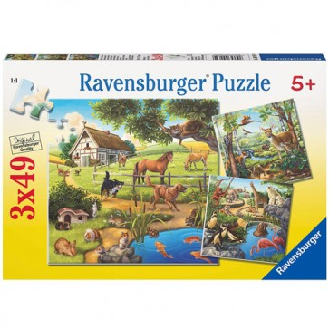 Puzzle padure zoo si animale domestice, 3x49 piese, RAVENSBURGER