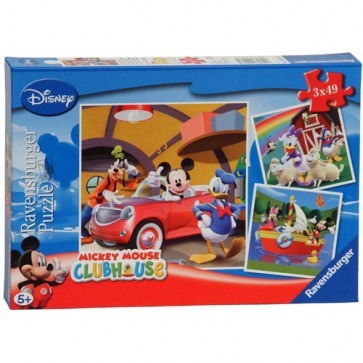 Puzzle clubul Mickey Mouse, 3x49 piese, RAVENSBURGER