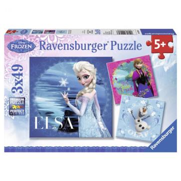 Puzzle Frozen Elsa Anna si Olaf, 3x49 piese, RAVENSBURGER
