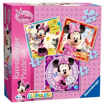 Puzzle Minnie Mouse, 3 buc., 25/36/49 piese, RAVENSBURGER