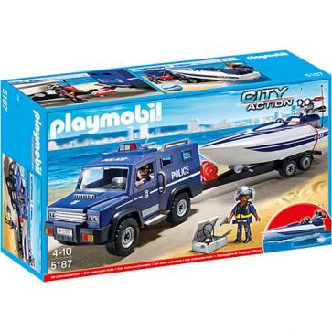 Camion de politie cu barca, PLAYMOBIL Police