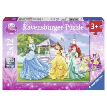 Puzzle Printesele Disney, 2x12 piese, RAVENSBURGER Puzzle Copii