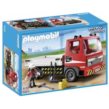 Camion platforma pentru constructii, PLAYMOBIL Construction