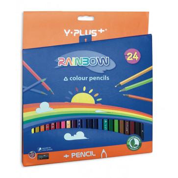 Creioane colorate, ascutitoare, 24 culori/set, PIGNA Rainbow Y-Plus+