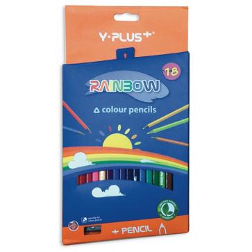 Creioane colorate, ascutitoare, 18 culori/set, PIGNA Rainbow Y-Plus+