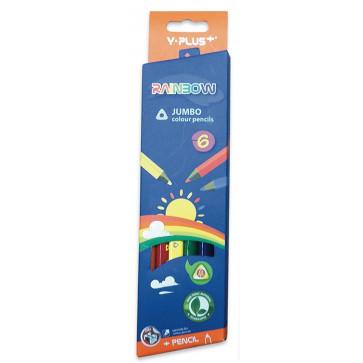 Creioane colorate, ascutitoare, 6 culori/set, PIGNA Rainbow Jumbo Y-Plus+