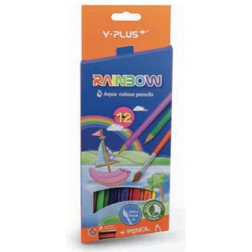 Creioane colorate acuarelabile, pensula, ascutitoare, 12 culori/set, PIGNA Rainbow Y-Plus+