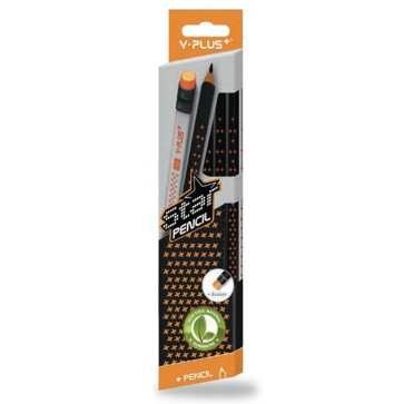 Creioane cu mina grafit, HB, radiera, 12 buc./set, PIGNA Star Y-Plus+