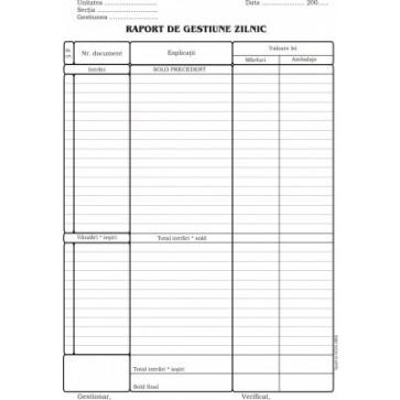 Raport gestiune zilnic, A4, tipar fata, 100 file/carnet