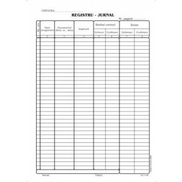 Registru jurnal, A4, tipar fata, 100 file/carnet