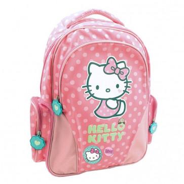 Ghiozdan, clasele 1-4, roz deshis cu buline, PIGNA Hello Kitty