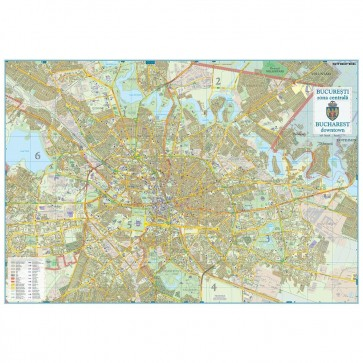 Harta plastifiata, Bucuresti zona centrala, 100 x 70cm, baghete plastic, STIEFEL