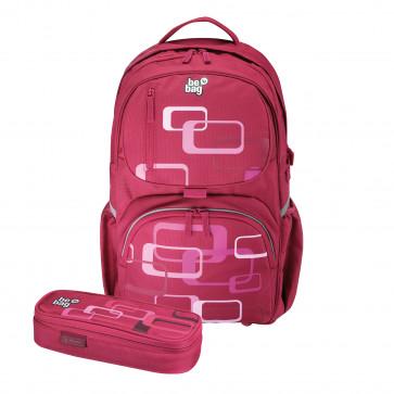 Rucsac ergonomic + penar tip etui, HERLITZ Be.Bag Cube Bundle Retro