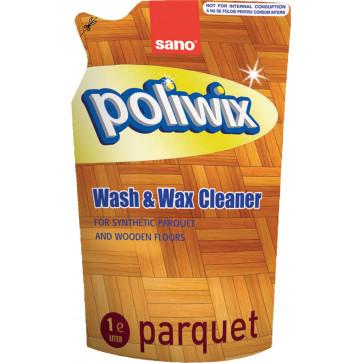Rezerva detergent lichid cu ceara pentru pardoseli, 1 L, SANO Poliwix Parquet