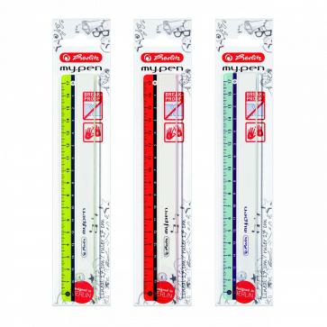 Rigla plastic, 17cm, diverse culori, HELITZ My.Pen