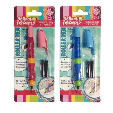 Roller clasic cu grip ergonomic + 2 rezerve, baieti, 4 culori, PIGNA EasyWriter