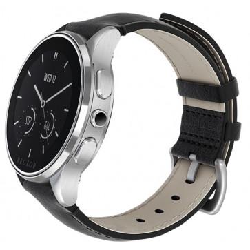 SmartWatch VECTOR Watch Luna, argintiu, curea din piele neagra