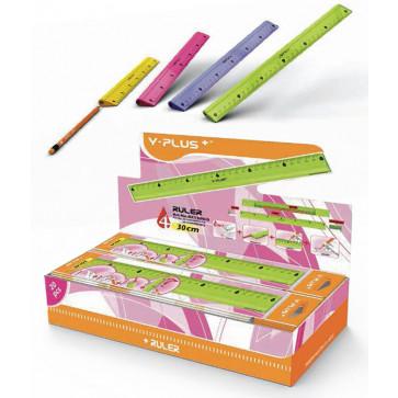 Rigla 30cm, compartiment interior pentru creion + ascutitoare + radiera, PIGNA Y-Plus+