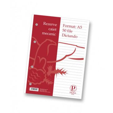 Rezerve pentru caiet mecanic, A5, 50 file, dictando, PIGNA Clasic