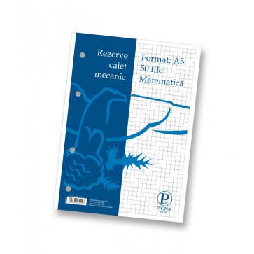 Rezerve pentru caiet mecanic, A5, 50 file, matematica, PIGNA Clasic