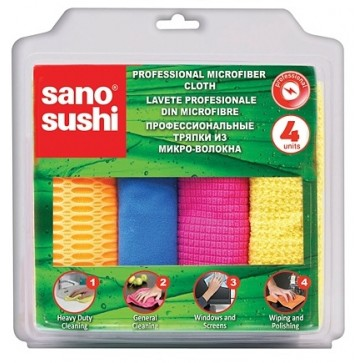 Laveta din microfibre universala, 4 buc/set, SANO Sushi Microfiber Professional