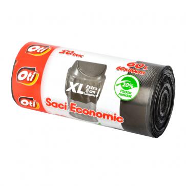 Saci menaj, 60L, 50 buc/rola, negru, OTI Economic