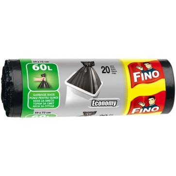 Saci menajeri, 60L, negru, 20 buc/rola, FINO