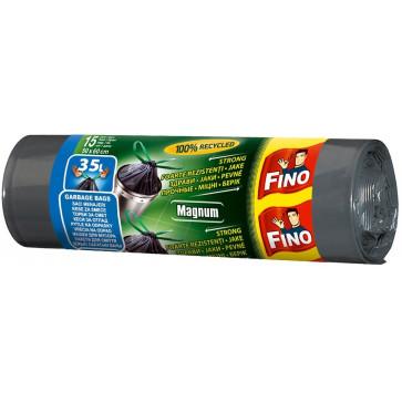 Saci menajeri cu snur, 35L, negru, 15 buc/rola, FINO Magnum