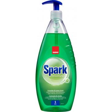 Detergent lichid pentru vase, 1L, SANO Spark Castravete