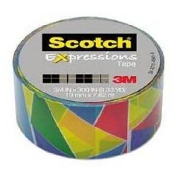 Banda adeziva decorativa, triunghiuri multicolore, SCOTCH Expressions