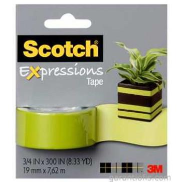 Banda adeziva decorativa, verde, blister, SCOTCH Expressions