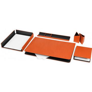 Set birou din imitatie piele, 5 piese, portocaliu, FEDON 1919 Scrittoio-5-D