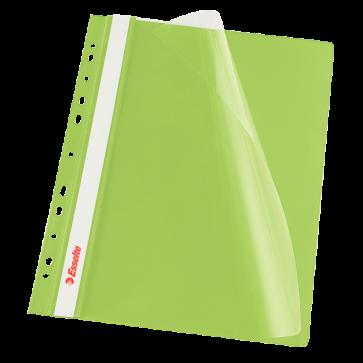 Dosar din plastic, cu sina si multiple perforatii, verde, ESSELTE Vivida