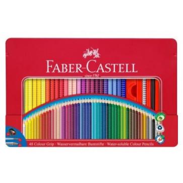 Creioane colorate, cutie metalica, 48culori/set, FABER CASTELL Grip 2001