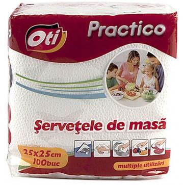 Servetele, 1 strat, 25 x 25cm, alb, 100 buc./pachet, OTI