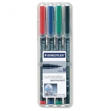 Set marker permanent 0.8-1mm, 4 culori/set, STAEDTLER Lumocolor