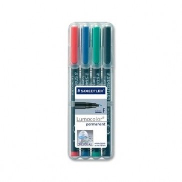 Set marker permanent, 0.6mm, 4 culori/set, STAEDTLER Lumocolor