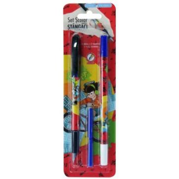 Stilou pentru stangaci cu penita iridium + 2 rezerve + corector, baieti, PIGNA School Friendly