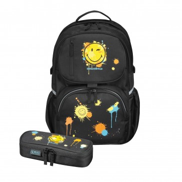 Rucsac ergonomic + penar tip etui, HERLITZ Be.Bag Cube Bundle Smiley World - Editie Speciala