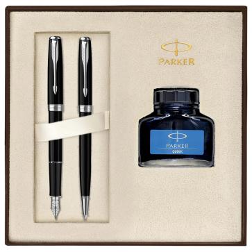 Set PARKER Sonnet Laquer Deep Black CT - Stilou + Pix